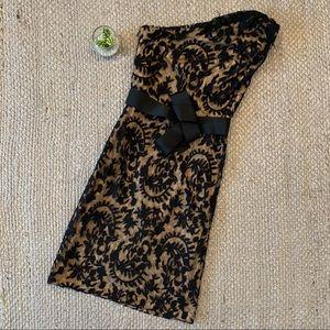 Tadashi Shoji Lace Overlay One Shoulder Dress